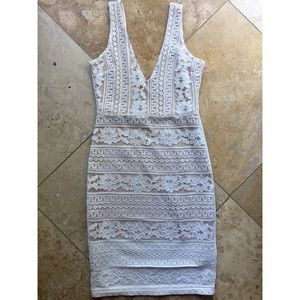Elegant White Lace Dress with Plunging Back